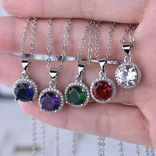 Charm 925 Silver Round Emerald Amethyst Sapphire Zircon Pendant Necklace Women