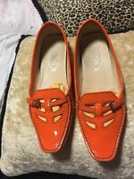Tod's patent leather ladies moccasins orange Size 9 / Diesel High Heels Shoes