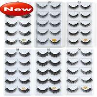 5 Pairs 3D Mink Hair False Eyelashes Wispy Cross Long Lashes Makeup Soft Hair LK
