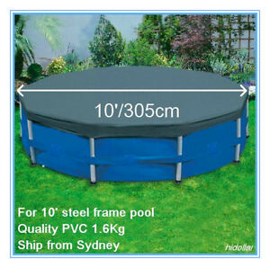 PVC POOL COVER FOR INTEX AQUA BESTWAY 10' 305cm STEEL FRAME SWIMMING POOL 58036