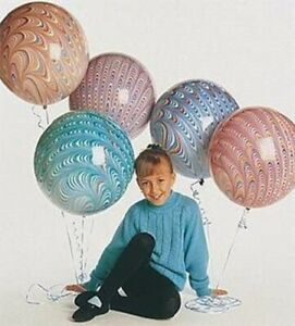 5 BALLOONS 18 inch ROUND latex PEACOCK asst MARBLE easter BOHO hippie FAVORS htf