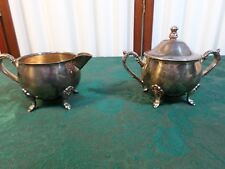 Exquisite Vintage Leonard Silverplate Footed Creamer & Sugar Bowl w/Handled Lid
