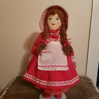 """Vtg. Little Red Riding Hood 19"""" Plush Cloth Folk Art Doll with embroidered face"""