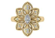 diamond fashion ring 14k yellow gold 25mm 0.66 ct G Vs1 marquise round natural
