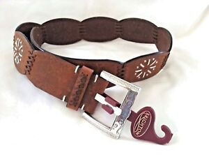 """BRIGHTON Belt Brown Embossed & Silver Style # B20649 Sz Small """"30"""" BRAND NEW!"""