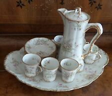 THEODORE HAVILAND LIMOGES FRANCE CHOCOLATE SET WITH 6 CUPS & SAUCERS WITH TRAY
