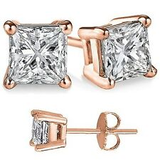 Solid Sterling Silver Basket Set CZ Stud Earrings PRINCESS SQUARE CUBIC ZERCONIA