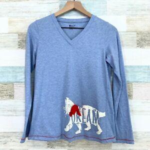 Hue Cat Bow Collar Pajama Top Blue Lounge Shirt V Neck Dream Cotton Womens Small