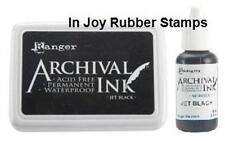 Ranger Jet Black Archival Ink Pad + Reinker Acid-free Permanent Waterproof