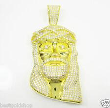 3D Jesus Face Pave Set Clear CZ Charm Pendant 14K Yellow Gold Clad Silver