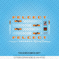 Peugeot Tandem Bicycle Decals - Transfers - Stickers - Orange & White - Set 758