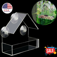 Window Bird Feeder Wild Table Hanging Suction Perspex Clear Viewing Seed Outdoor