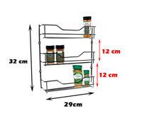 Wall Spice Rack 3 Tier Spices Jar Pantry Shelves Organiser Storage Chrome