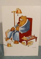 Quotable Greeting Card Vintage Unused 1984 Get Well Soon Funny Bear in a chair