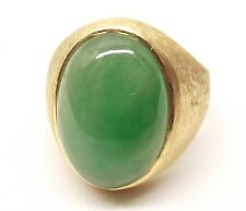 Vtg 14K Gold Heavy Green Jade Ring Cabochon Sz 8 Chunky Cocktail Textured