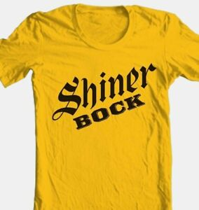 Shiner Bock T-shirt German beer 100% cotton printed gold graphic printed tee