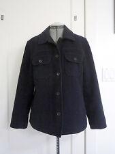 Vintage JCrew Wool Car Coat Jacket Pockets Navy Blue L XL