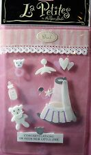 NEW 8 pc BABY GIRL Basinette Mobile Teddy Bottle Rattle LA PETITES 3D Stickers
