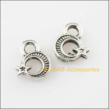 50Pcs Tibetan Silver Tone Tiny Moon Star Charms Pendants 8x10mm