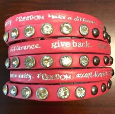 Humanity Inspire with Kindness Cuff Bracelet w Studs Crystals Hot Pink