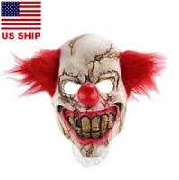 US! Horror Latex Mask Evil Clown Halloween Costume Accessory Killer Cosplay Prop