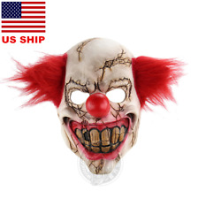 US! Horror Latex Mask Evil Clown Halloween Costume Accessory Killer Cosplay Prop