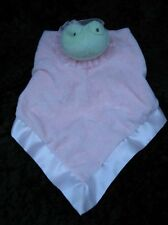 Hallmark Green Frog Pink Velour Satin Soft Lovey Security Blanket