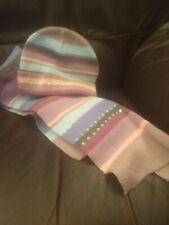 Avon Striped Pastel Hat And Scarf Set