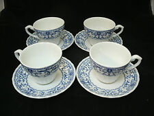 Vtg Meakin FORUM Blue on White Classic 4 Coffee Tea Cup & Saucer Sets England EC