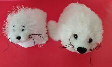 Two Different Small Plush White Seals