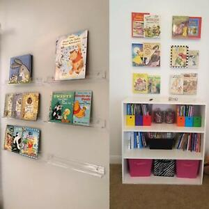 6x Acrylic Invisible Kids Floating Bookshelf For Kids Room Record Albums Display