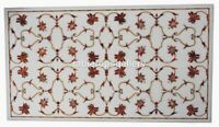 """18""""x24"""" Marble Coffee Table Top Carnelian Floral Inlay Furniture Art Decors W249"""