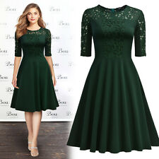 Women's Retro Elegant Lace Cocktail Evening Party Flare Swing Pleated Dresses