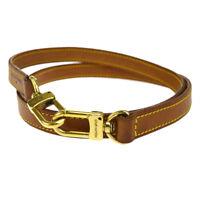Authentic LOUIS VUITTON Logos Shoulder Strap Leather Brown Accessory 66EK580