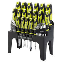 DRAPER 44 Piece Screwdriver, Hex Key and Bit Set (Green) With Stand 78619