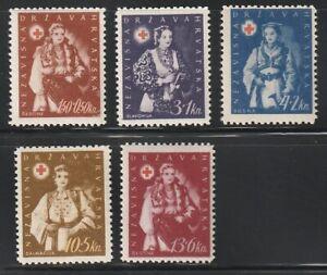Croatia   1942   Sc # B20-24  Red Cross   VLH   (55042)
