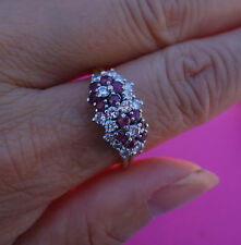 right hand ring band 14k Yg .50ct H/Si1 Diamond .50ct Genuine Ruby floral
