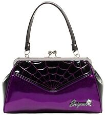 SOURPUSS SPIDERWEB BACKSEAT BABY PURSE Purple vintage shape kiss-lock punkabilly