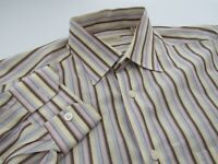 Recent Billy Reid Soft Cotton Brown Multi-color Stripe Shirt Size M