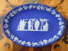 "Unusual Antique Wedgwood Blue Jasper Ware Pen Trinket Oval 8"" Tray Dish (c.1820)"