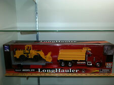 1/32 NEW RAY PETERBILT 379 DUMP TRUCK WITH TRAILER & PLOW RED & YELLOW DUMP