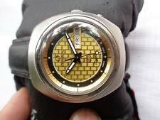 RARE VTG SWISS SS **OMAX CRYSTAL** GOLDEN BLACK DIAL GENTS AUTOMATIC WRISTWATCH