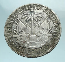 1882 HAITI Woman Palm French Motto Antique Silver Hatian 50 Centimes Coin i78575