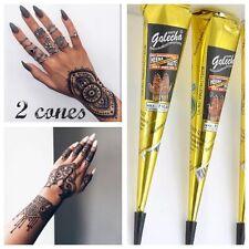 2 Cones IMPORTED GOLECHA BLACK Henna Paste Mehndi Cones African Temporary Tattoo
