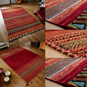 Kelim Red Rug Hall Runners and Cushions Tribal Aztec Geometric Design Tassels