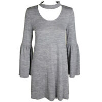 Kensie Grey Sace-Dye Bell-Sleeve Drapey Choker Trapeze Dress S