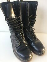 Women's 14 Hole Dr Martens Boots Uk5 EU38 Black Leather Lace Up 1914 Smooth
