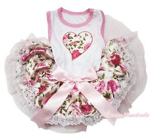 Valentine's Day Rose Heart White Top Lace Skirt One Piece Pet Dog Dress Outfit