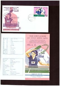 Korea Mi-Nr. 872 - FDC - TT-Weltmeisterschaft 1973 mit off. Kommunikationsblatt
