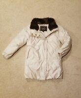 Coach Womens Fur Trim Winter Puffer Long Mid Length Coat Jacket White XS